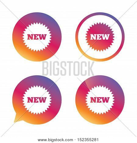 New sign icon. New arrival star symbol. Gradient buttons with flat icon. Speech bubble sign. Vector
