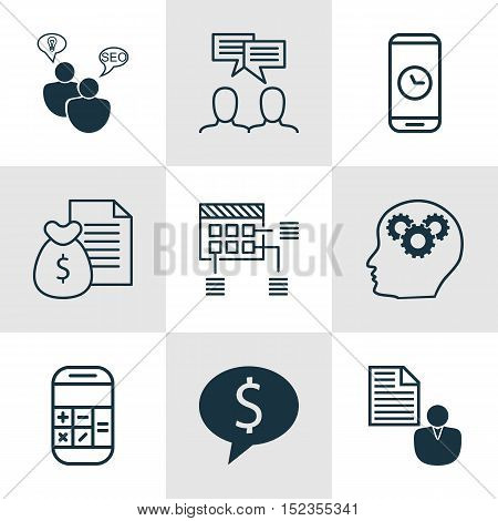 Set Of 9 Universal Editable Icons For Human Resources, Marketing And Advertising Topics. Includes Ic
