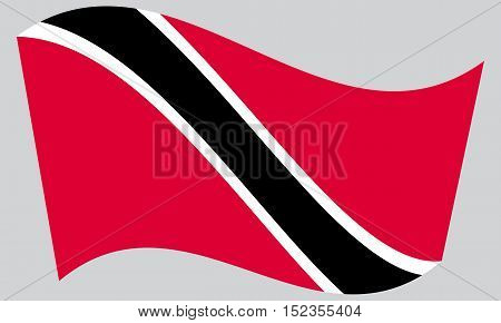 Trinidadian and Tobagonian national official flag. Patriotic symbol banner element background. Correct colors. Flag of Trinidad and Tobago waving on gray background vector