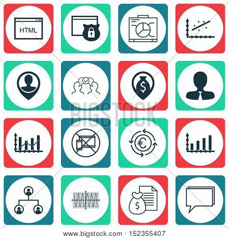 Set Of 16 Universal Editable Icons For Human Resources, Business Management And Travel Topics. Inclu