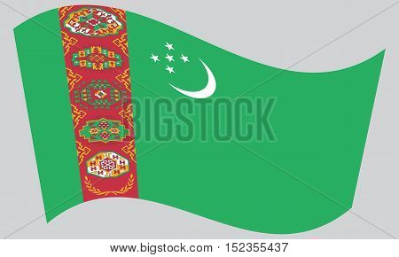 Turkmen national official flag. Patriotic symbol banner element background. Correct colors. Flag of Turkmenistan waving on gray background vector