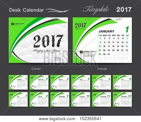 set Green Desk Calendar 2017 template design cover Desk Calendar – Calendar Flyer Template