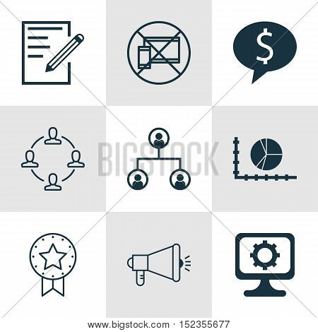 Set Of 9 Universal Editable Icons For Human Resources, Advertising And Project Management Topics. In
