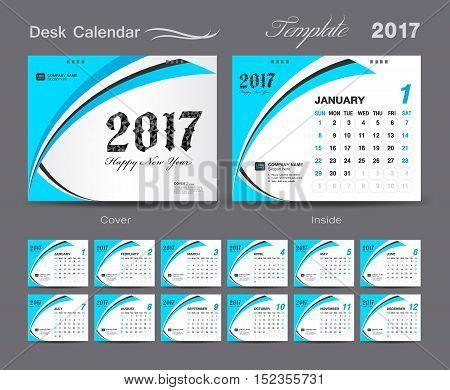 set Blue Desk Calendar 2017 template design, cover Desk Calendar, Business flyer template