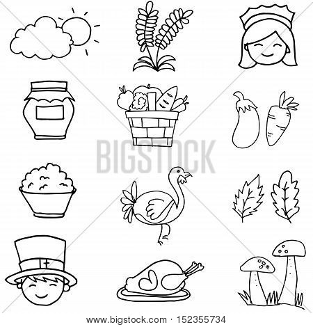 Hand draw thanksgiving element on doodles vector