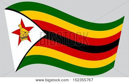 Zimbabwean national official flag. African patriotic symbol banner element background. Correct colors. Flag of Zimbabwe waving on gray background vector