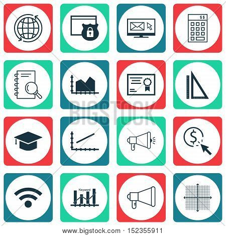 Set Of 16 Universal Editable Icons For Statistics, Airport And Advertising Topics. Includes Icons Su