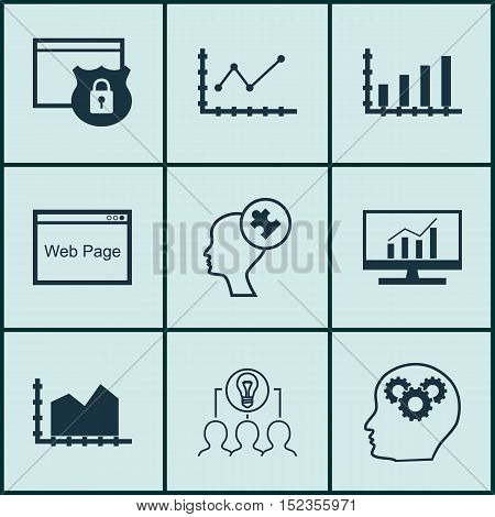 Set Of 9 Universal Editable Icons For Statistics, Seo And Business Management Topics. Includes Icons