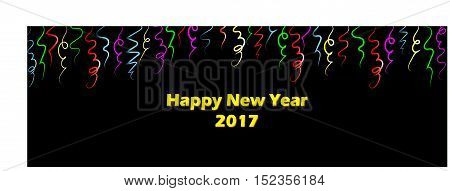 Celebrate New Years with bright colorful streamers. Red, yellow, blue and green ribbons create a festive banner. Black background with bright colors.