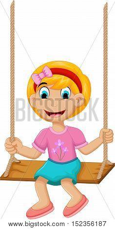 funny Little girl plying swing for you design