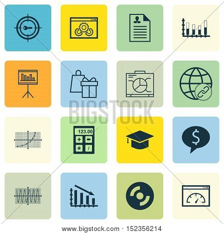 Set Of 16 Universal Editable Icons For Project Management, Education And Statistics Topics. Includes