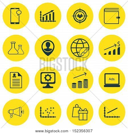 Set Of 16 Universal Editable Icons For Education, Advertising And Statistics Topics. Includes Icons