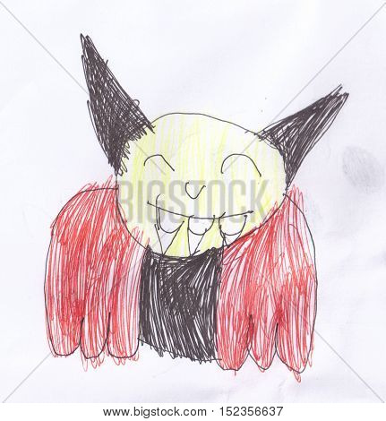 Child's drawing of a vampire, scaning image