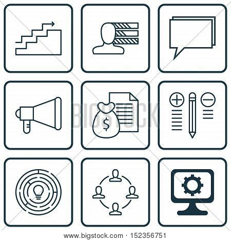 Set Of 9 Universal Editable Icons For Project Management, Marketing And Computer Hardware Topics. In