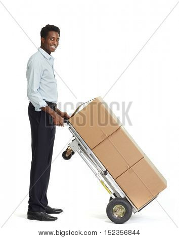 African American delivery man.