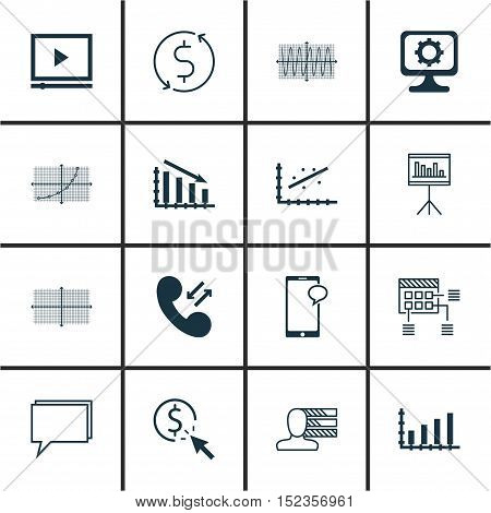 Set Of 16 Universal Editable Icons For Advertising, Project Management And Airport Topics. Includes