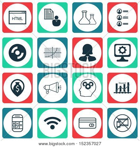 Set Of 16 Universal Editable Icons For Human Resources, Seo And Marketing Topics. Includes Icons Suc
