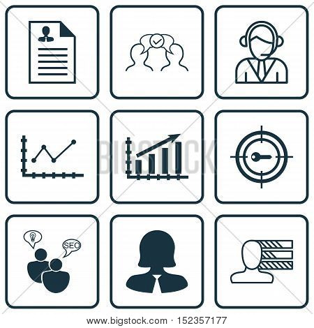 Set Of 9 Universal Editable Icons For Airport, Business Management And Human Resources Topics. Inclu