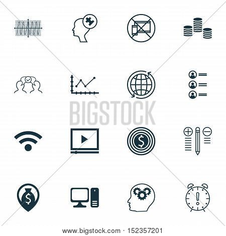 Set Of 16 Universal Editable Icons For Human Resources, Seo And Business Management Topics. Includes