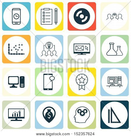Set Of 16 Universal Editable Icons For Advertising, Education And Statistics Topics. Includes Icons