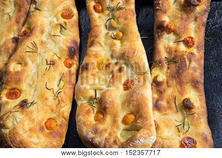 Fresh Caucasian Bread With Tomato And Rosemary For Sale At Farmers Market
