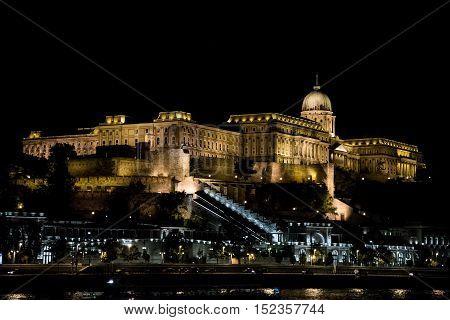 Buda Castle illuminated at night Budapest Hungary