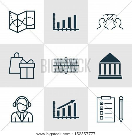 Set Of 9 Universal Editable Icons For Education, Business Management And Statistics Topics. Includes