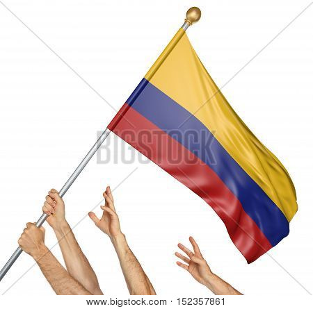 Team of peoples hands raising the Colombia national flag, 3D rendering isolated on white background