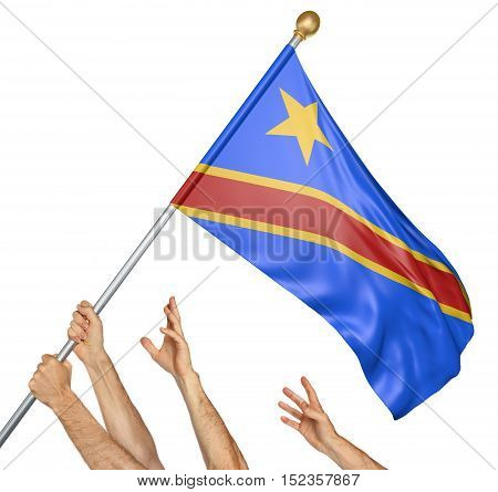 Team of peoples hands raising the DR Congo national flag, 3D rendering isolated on white background