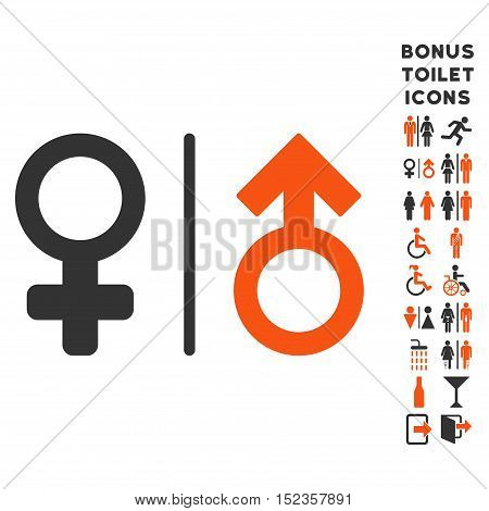 WC Gender Symbols icon and bonus man and lady restroom symbols. Vector illustration style is flat iconic bicolor symbols, orange and gray colors, white background.