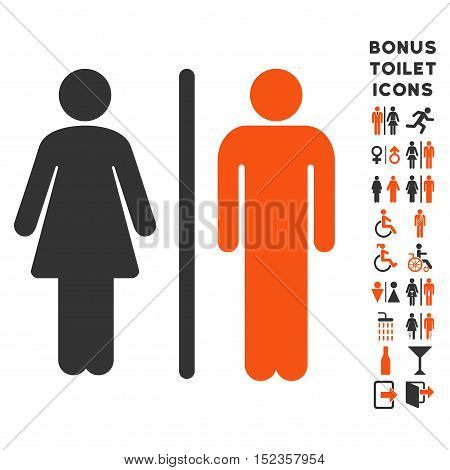 WC Persons icon and bonus gentleman and lady lavatory symbols. Vector illustration style is flat iconic bicolor symbols, orange and gray colors, white background.
