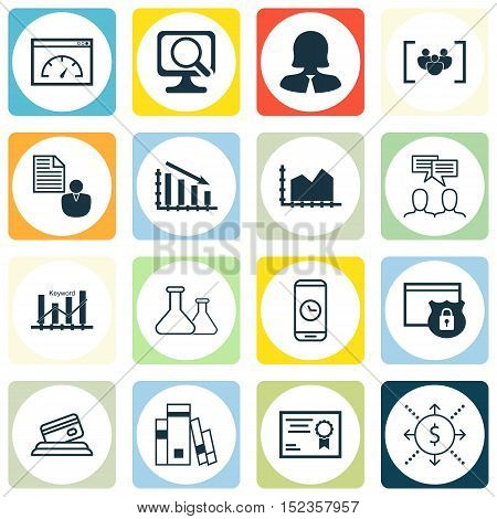 Set Of 16 Universal Editable Icons For Seo, Statistics And Project Management Topics. Includes Icons