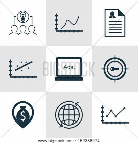 Set Of 9 Universal Editable Icons For Airport, Human Resources And Marketing Topics. Includes Icons
