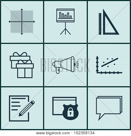 Set Of 9 Universal Editable Icons For Marketing, Project Management And Statistics Topics. Includes