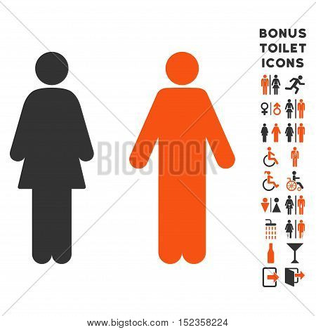 WC Persons icon and bonus male and lady toilet symbols. Vector illustration style is flat iconic bicolor symbols, orange and gray colors, white background.