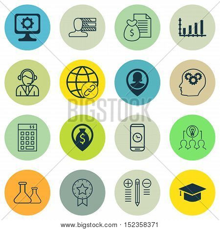 Set Of 16 Universal Editable Icons For Marketing, Project Management And Computer Hardware Topics. I