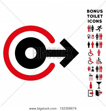 Log Out icon and bonus man and woman toilet symbols. Vector illustration style is flat iconic bicolor symbols, intensive red and black colors, white background.