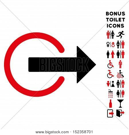 Logout icon and bonus male and woman toilet symbols. Vector illustration style is flat iconic bicolor symbols, intensive red and black colors, white background.