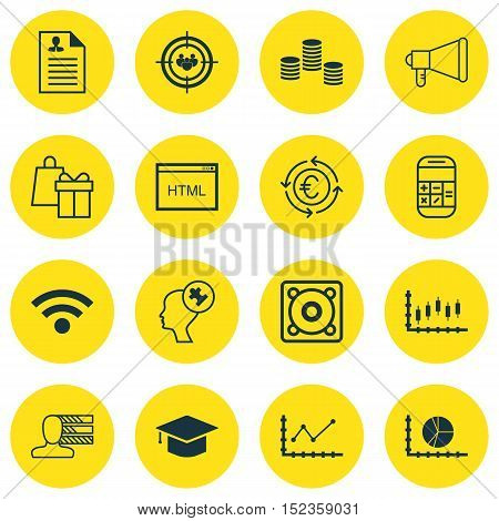 Set Of 16 Universal Editable Icons For Business Management, Travel And Marketing Topics. Includes Ic