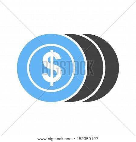Coins, dollar, money icon vector image. Can also be used for currency. Suitable for use on web apps, mobile apps and print media.