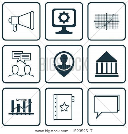 Set Of 9 Universal Editable Icons For Education, Statistics And Computer Hardware Topics. Includes I