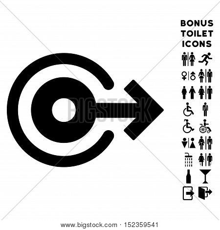 Log Out icon and bonus male and lady toilet symbols. Vector illustration style is flat iconic symbols, black color, white background.