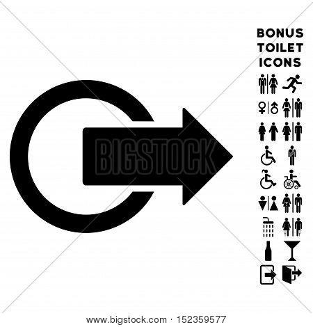 Logout icon and bonus gentleman and lady toilet symbols. Vector illustration style is flat iconic symbols, black color, white background.