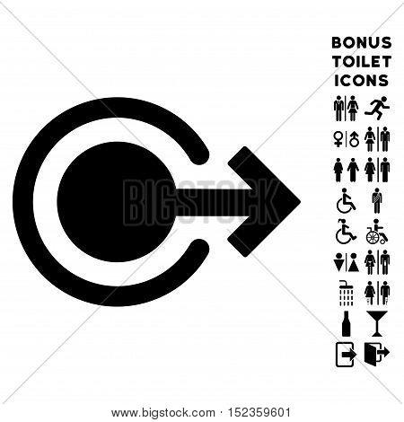 Logout icon and bonus man and female restroom symbols. Vector illustration style is flat iconic symbols, black color, white background.