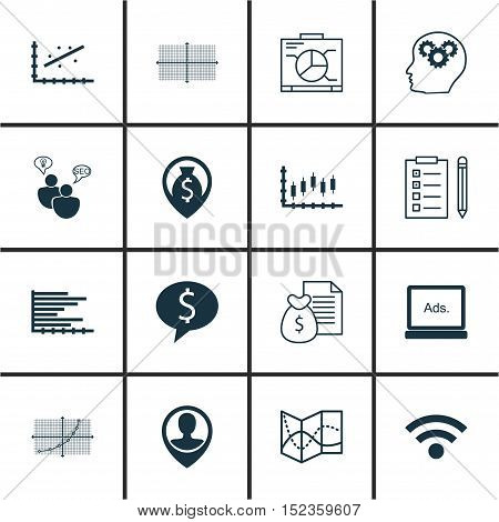 Set Of 16 Universal Editable Icons For Computer Hardware, Marketing And Advertising Topics. Includes