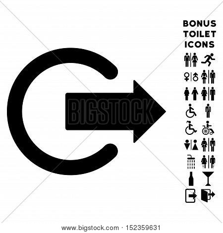 Logout icon and bonus male and woman toilet symbols. Vector illustration style is flat iconic symbols, black color, white background.