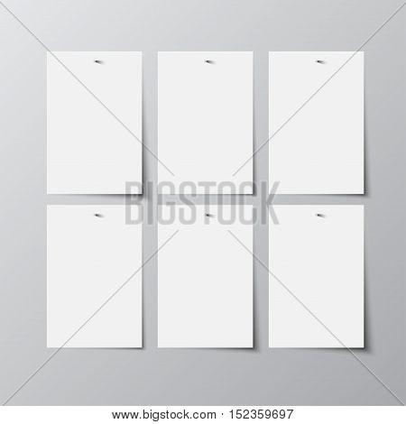 Set of paper rectangle banner template for business design, infographics. Vector illustration eps10. Mock up. Mockup. Web graphic for your design. A4. Six.