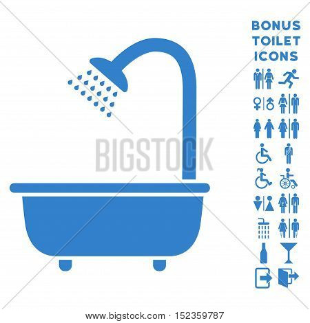 Bath Shower icon and bonus man and female restroom symbols. Vector illustration style is flat iconic symbols, cobalt color, white background.