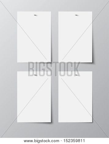 Set of paper rectangle banner template for business design, infographics. Vector illustration eps10. Mock up. Mockup. Web graphic for your design. A4. Four.