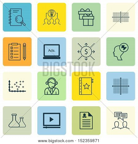 Set Of 16 Universal Editable Icons For Education, Business Management And Seo Topics. Includes Icons